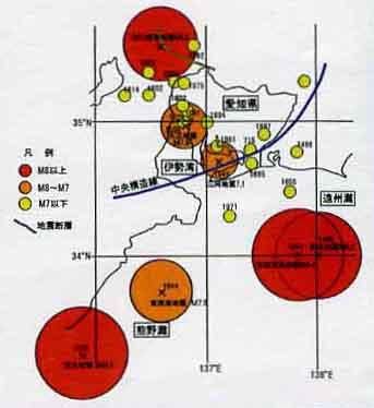 愛知県に被害を及ぼした地震の分布   三河地震と阪神淡路大震災の震度7.